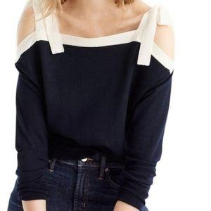 J. CREW merino wool cold shoulder bow sweater
